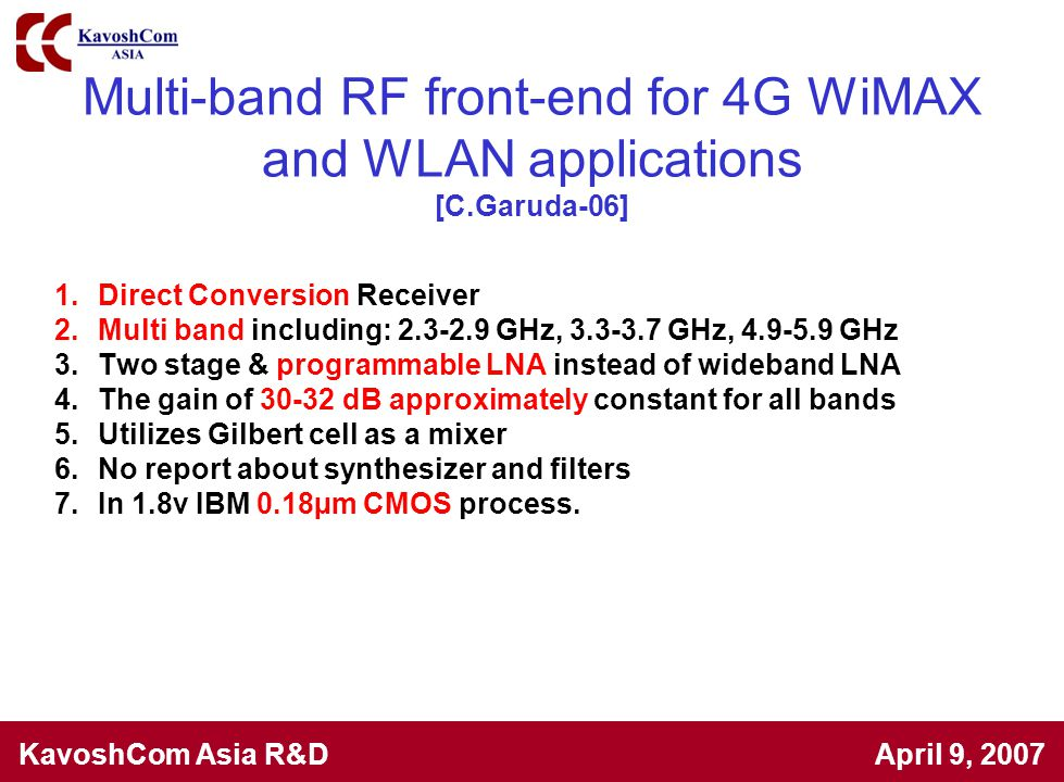 Multi-band RF front-end for 4G WiMAX and WLAN applications [C